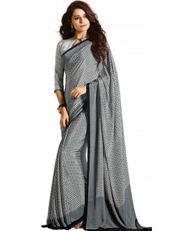 Casual Wear Black & White Crepe Saree - RKAM5108