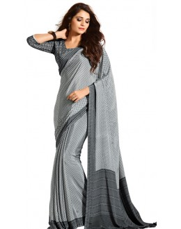 Casual Wear Black & White Crepe Saree - RKAM5109
