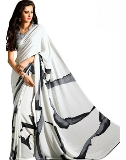 Casual Wear Black & White Crepe Saree - RKAM5111