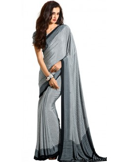 Party Wear Black & White Crepe Saree - RKAM5113
