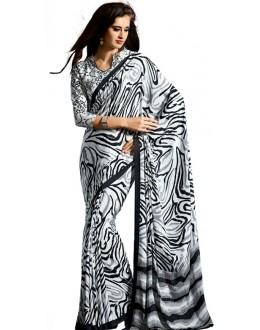 Party Wear Black & White Crepe Saree - RKAM5114