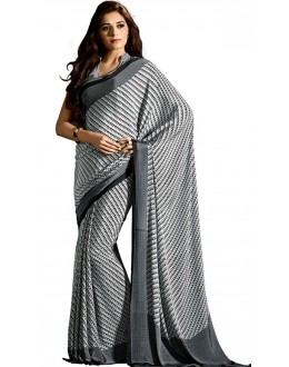 Party Wear Black & White Crepe Saree - RKAM5115