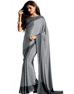 Party Wear Black & White Crepe Saree - RKAM5118