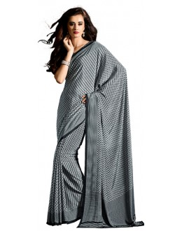 Party Wear Grey & White Crepe Saree - RKAM5120