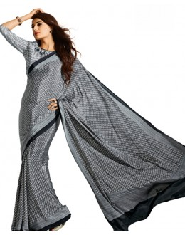 Party Wear Grey & White Crepe Saree - RKAM5121