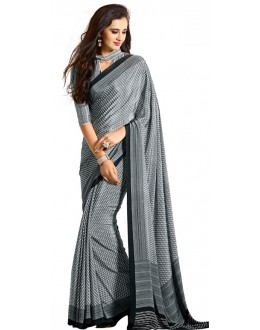 Party Wear Grey & White Crepe Saree - RKAM5122