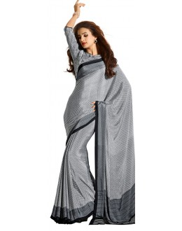 Party Wear Grey & White Crepe Saree - RKAM5123
