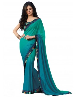 Casual Wear Georgette Green Saree - RKLP4092