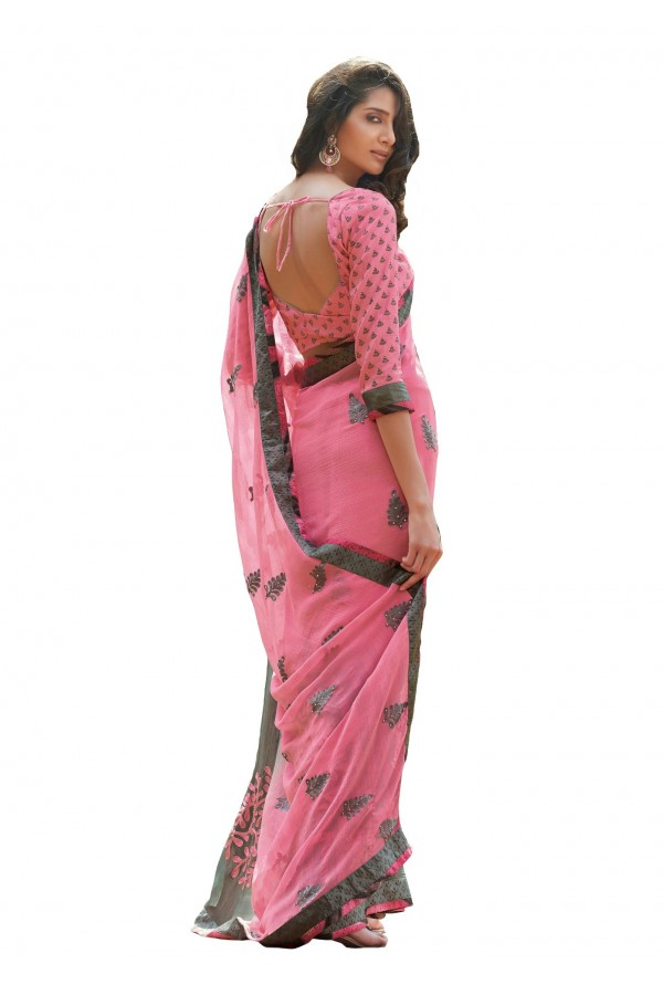 Ethnic Wear Chiffon Pink Saree - RKLP4103