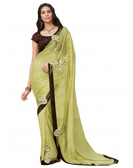 Party Wear Chiffon Brasso Yellow Saree - RKLP4112