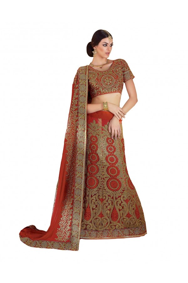 Party Wear Georgette Net Red Lehenga Saree - RKLP4113