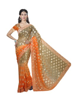 Casual Wear Orange Faux Chiffon Saree  - RKMF1553