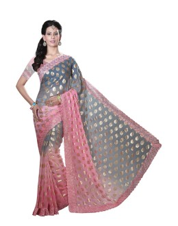 Casual Wear Old Rose Faux Chiffon Saree  - RKMF1560