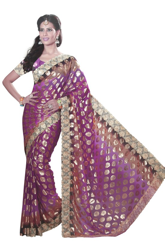 Party Wear Magenta Faux Chiffon Saree  - RKMF1562