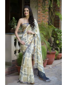 Designer Party Wear Beige Saree-RKRO1144(FH-RKRO)