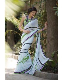 Designer Party Wear White Saree-RKRO1151(FH-RKRO)