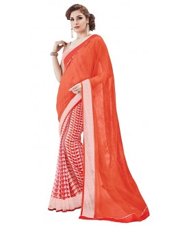 Party Wear Orange Georgette Saree - RKSAPAV1312