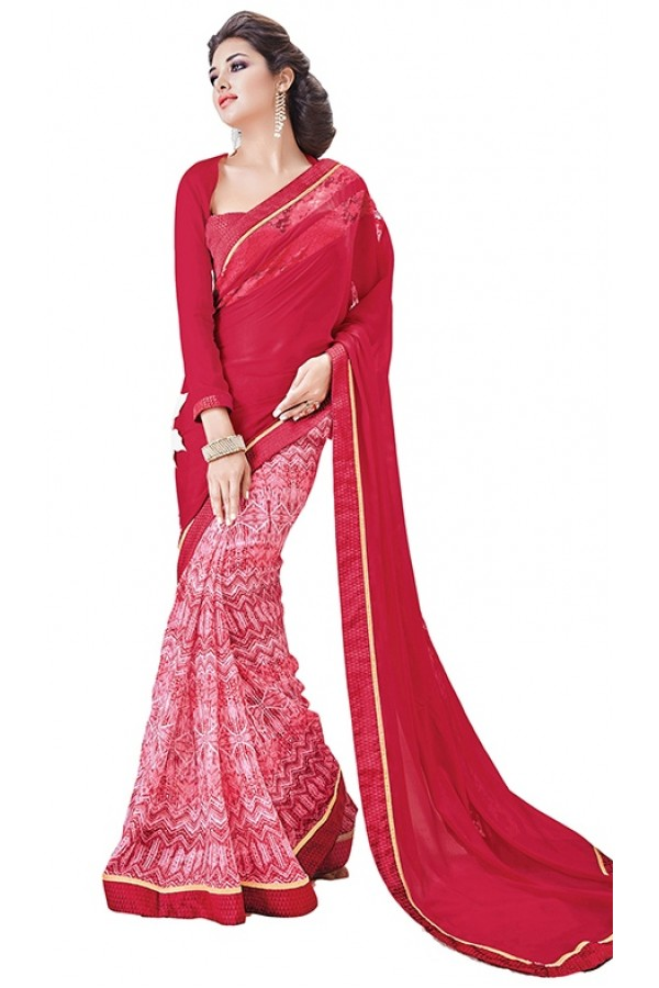 Party Wear Red Georgette Saree - RKSAPAV1322