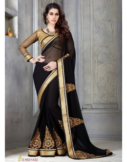 Designer Black Embroidered Georgette Saree - RKSG1432 ( FH-RKSG1416 )