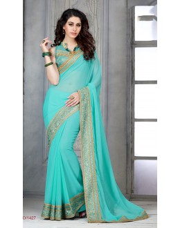 Designer Blue Embroidered Georgette Saree - RKSG1427 ( FH-RKSG1416 )