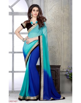 Designer Blue Embroidered Half & Half Georgette Saree - RKSG1421 ( FH-RKSG1416 )