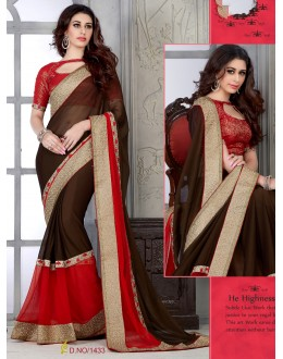 Designer Brown & Red Embroidered Georgette Saree - RKSG1433 ( FH-RKSG1416 )