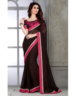Designer Brown Embroidered Georgette Saree - RKSG1416 ( FH-RKSG1416 )