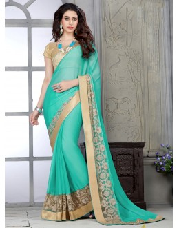 Designer Green Embroidered Georgette Saree - RKSG1425 ( FH-RKSG1416 )