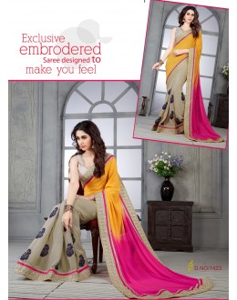 Designer Multicolor Embroidered Half & Half Georgette Saree - RKSG1423 ( FH-RKSG1416 )