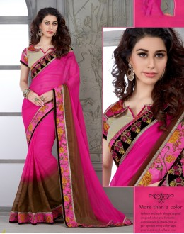 Designer Pink & Brown Embroidered Georgette Saree - RKSG1424 ( FH-RKSG1416 )
