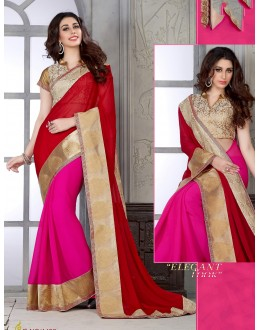 Designer Red & Pink Embroidered Half & Half Georgette Saree - RKSG1422 ( FH-RKSG1416 )