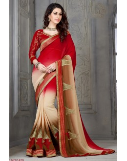 Designer Red Beige & Brown Embroidered Half & Half Georgette Saree - RKSG1429 ( FH-RKSG1416 )