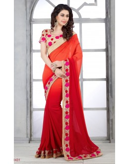 Designer Red Embroidered Georgette Saree - RKSG1431 ( FH-RKSG1416 )
