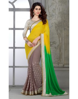 Designer Yellow Green Brown Embroidered Georgette Saree - RKSG1420 ( FH-RKSG1416 )