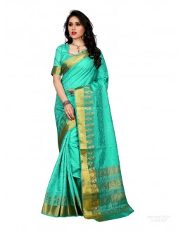 Party Wear Poly Silk Green Saree - RKSGVS827