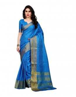 Party Wear Poly Silk Light Blue Saree - RKSGVS818