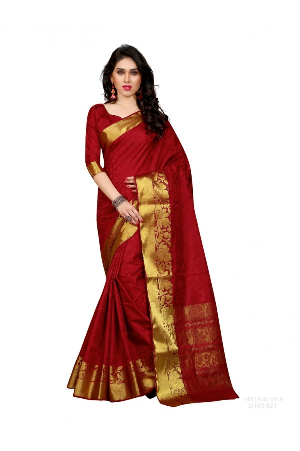 Party Wear Poly Silk Maroon Saree - RKSGVS821