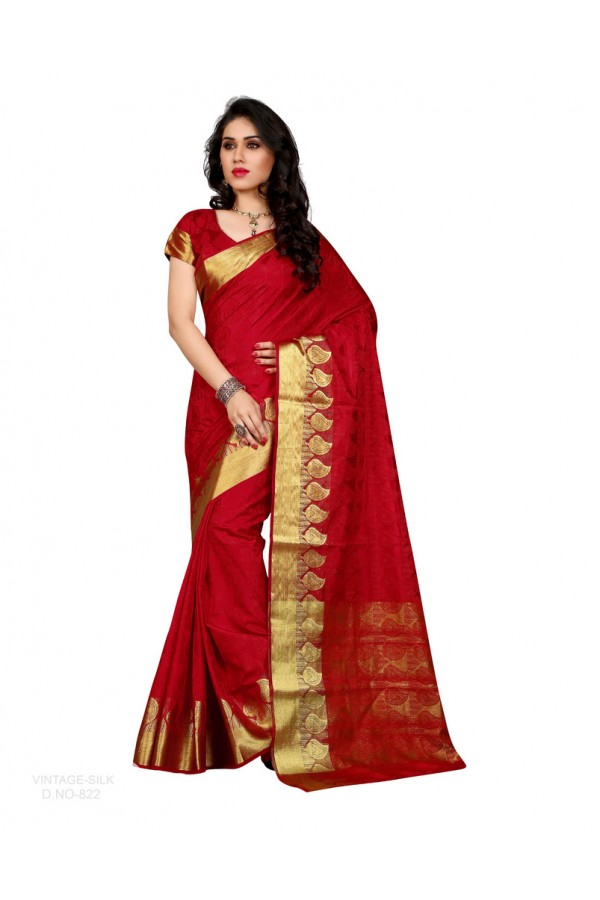 Party Wear Poly Silk Red Saree - RKSGVS822