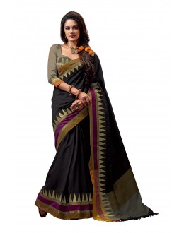 Party Wear Cotton Blend Black Saree - RKSPNETRAONYX