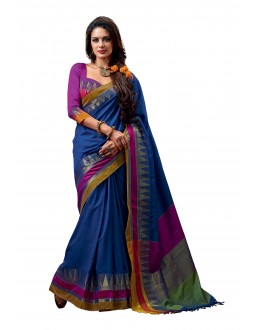 Party Wear Cotton Blend Blue Saree - RKSPNETRAJADE