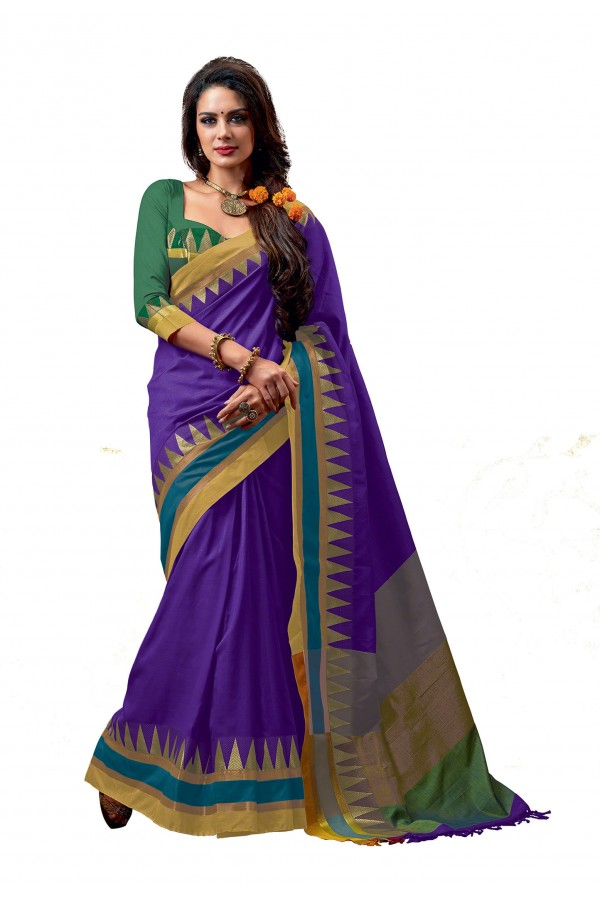 Party Wear Cotton Blend Blue Saree - RKSPNETRAORCHID