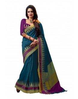 Party Wear Cotton Blend Blue Saree - RKSPNETRASLATE