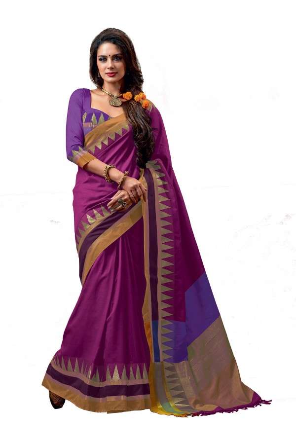 Party Wear Cotton Blend Dark Pink Saree - RKSPNETRAROSE