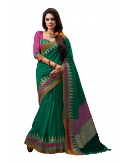 Party Wear Cotton Blend Green Saree - RKSPNETRABLISS