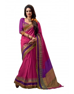 Party Wear Cotton Blend Pink Saree - RKSPNETRARANI