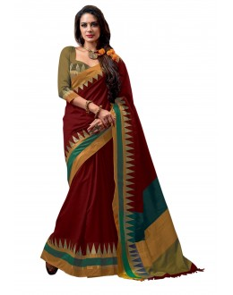 Party Wear Cotton Blend Red Saree - RKSPNETRAAMBER