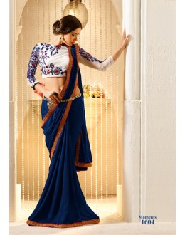 Designer Dark Blue Embroidered Chiffon Saree - RKVAS1604 ( FH-RKVAS1601 )