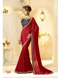 Designer Red Embroidered Chiffon Saree - RKVAS1605 ( FH-RKVAS1601 )