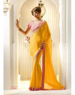Designer Yellow Embroidered Chiffon Saree - RKVAS1606 ( FH-RKVAS1601 )
