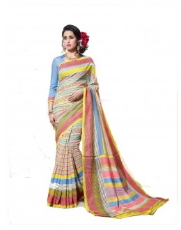 Designer Linen Cotton Silk Multicolor Saree - RKVI16105